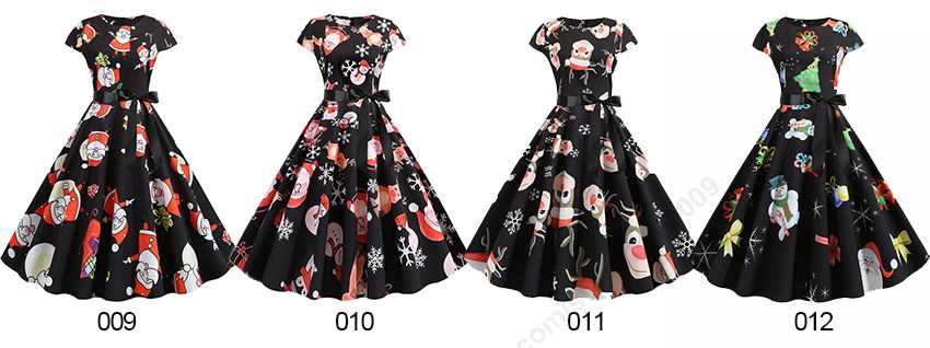 Women Christmas Party Dress robe femme Plus Size Elegant Vintage Short Sleeve Xmas Summer Dress Black Casual Midi Jurken Vestido 634