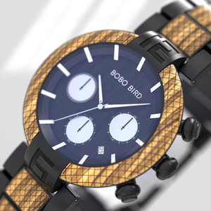 Image 4 - Часы мужские בובו ציפור עץ שעון גברים סטופרים בעבודת יד יפן תנועת קוורץ שעוני יד מתנה עבור זכר erkek kol saati