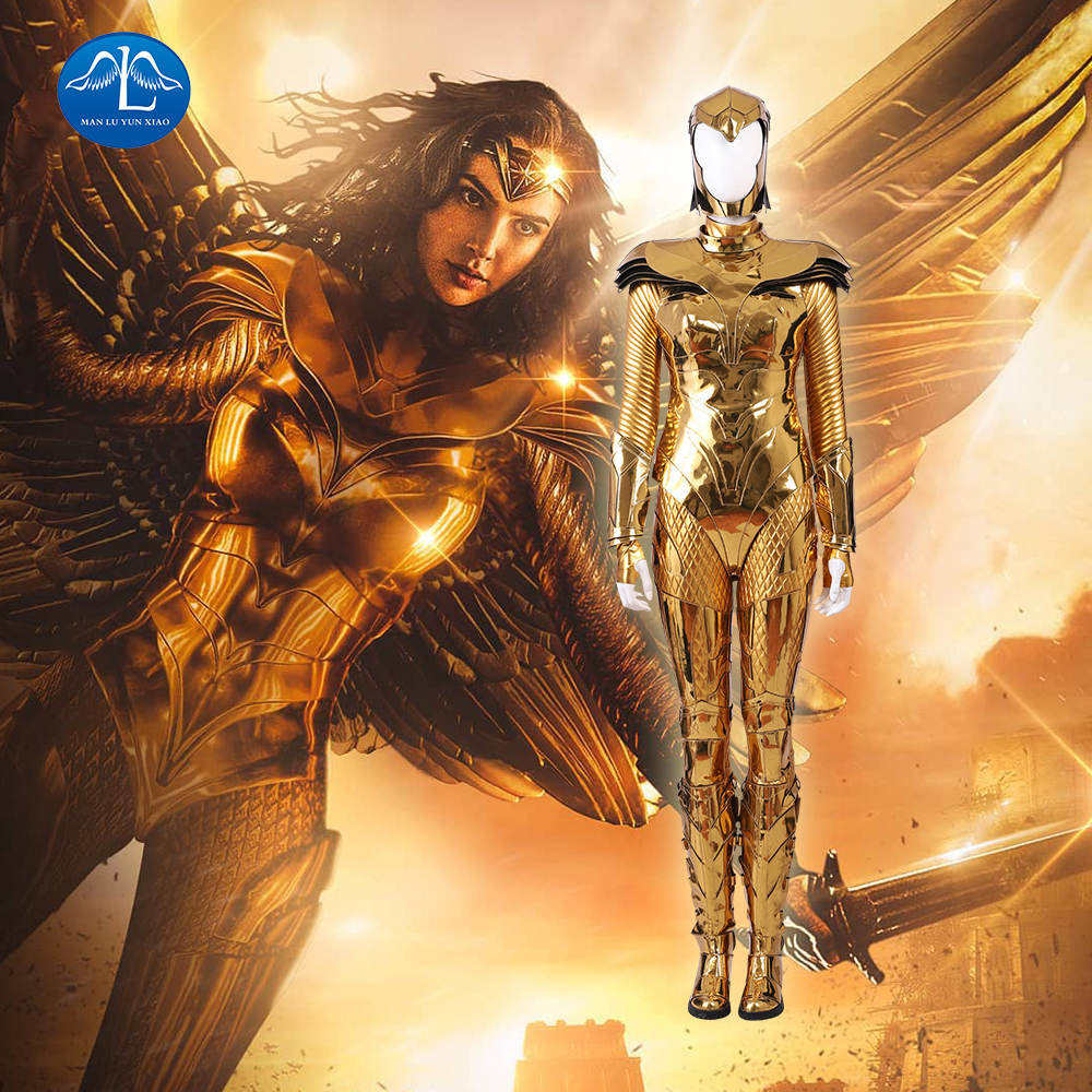 Movie Wonder Woman 1984 WW84 Cosplay Costume Diana Prince Suit For Girls Carnival Halloween Outfit  Adult Gold Version