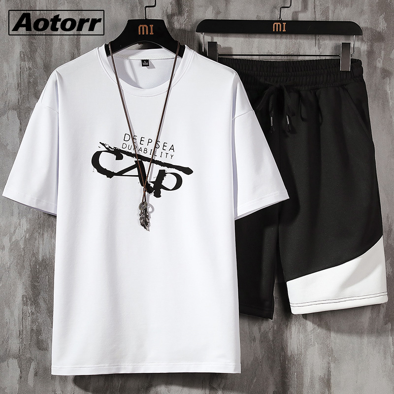 Casual Men's T-shirt + Sports Shorts Set Summer Male Sport Suit Running T-shirt Sets Fashion Harajuku Print Two Pieces Clothing 1