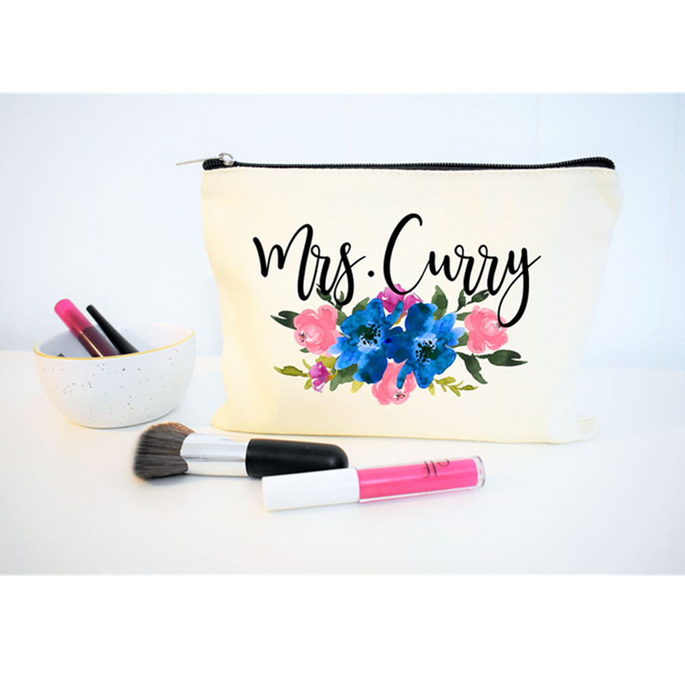 Floral Makeup Bridesmaid Gift Bag Team Bride Bachelorette Party make up bag bridal shower decoration Wedding Favor cosmetic bag