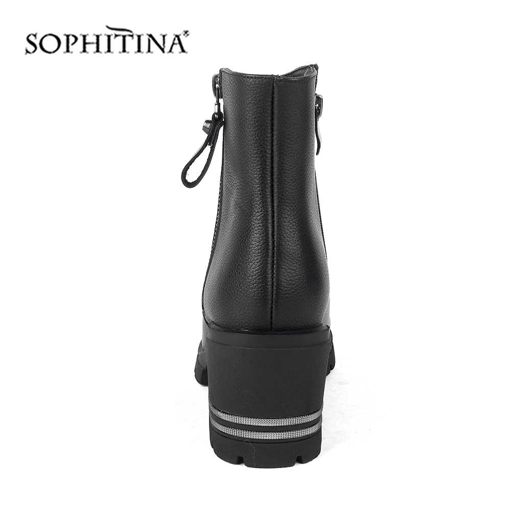 SOPHITINA Fashion Zipper Stiefel Hohe Qualität Echtes Leder Platz Ferse Komfortable Runde Kappe Schuhe Solide Neue frauen Stiefel C228