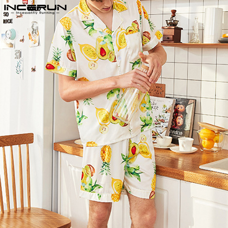 INCERUN Men Hawaiian Fruit Print Short Sleeve Pajamas Sets Satin Silk Summer Fashion Comfort Soft Homewear Mens Sleepwear Suit