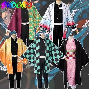 Demon Slayer Kimetsu no Yaiba Kamado Tanjirou Kamado Nezuko Agatsuma Zenitsu Tomioka Giyuu Kochou Shinobu Cosplay Wigs Costumes(China)