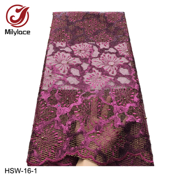 African Embroidered Beaded Double Organza Lace Fabric with Sequins High Quality Lace French Nigerian Tulle Lace Fabric HSW-16