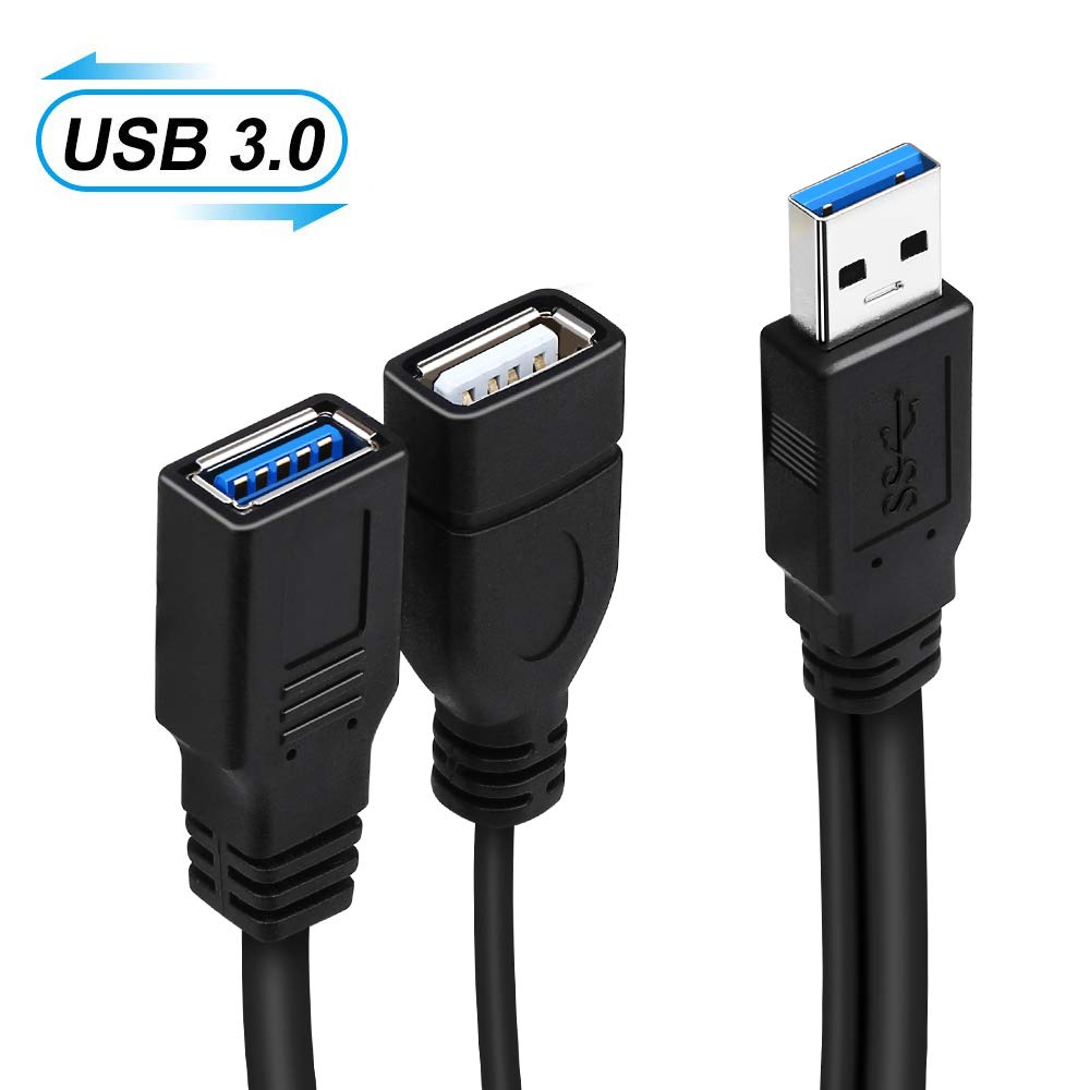 Onvian USB 3.0 Splitter Cable USB 3.0 Male To Dual USB A Female Jack Y Hub USB Splitter Charger & Data Transfer Extension Cable
