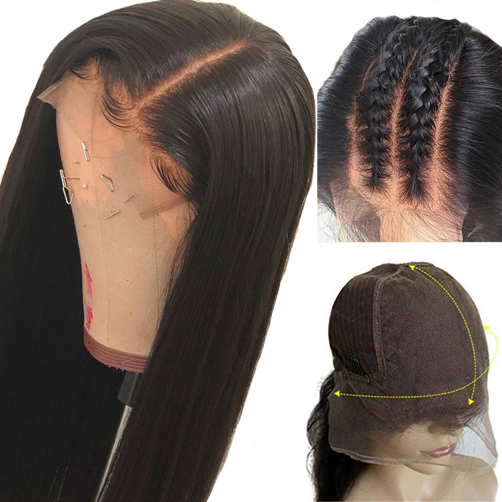 Eseewigs Wigs For Women Deep Parting Straight 13x6 Lace Front Wigs Pre Plucked With Natural Baby Hair Brazilian Remy Human Hair