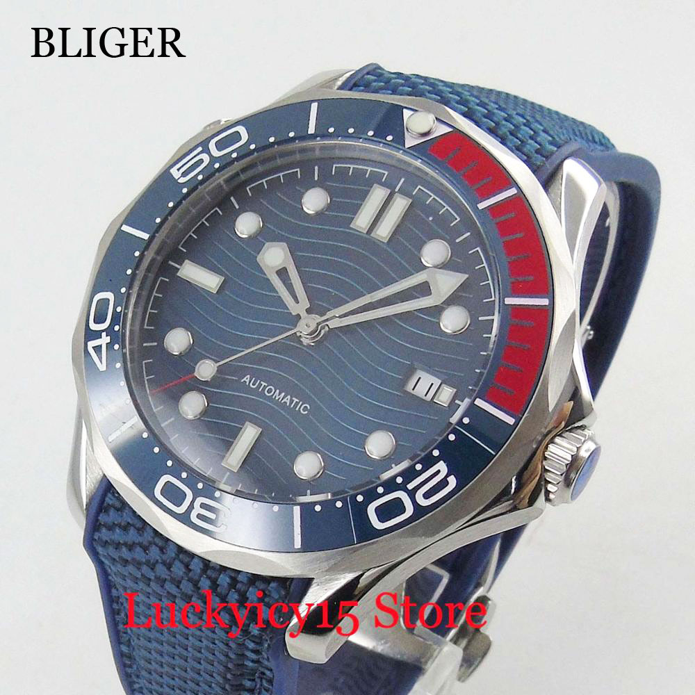 BLIGER Brand Sterile Dial Men's Automatic Watch Sapphire Crysstal Rubber Strap 41mm Time Watch