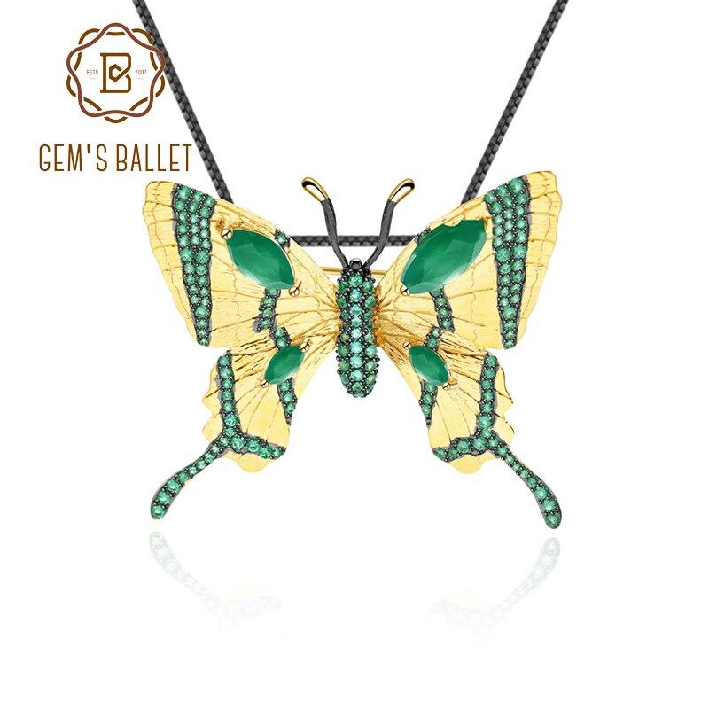 Pendant Butterfly Golden-Brooch High-Jewelry 925-Sterling-Silver Green Agate GEM'S BALLET