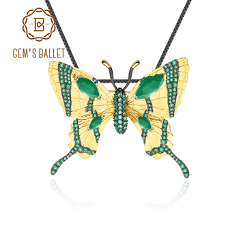 GEM'S BALLET Golden Brooch Pendant Lady Genuine 925 Sterling Silver Green Agate Butterfly Fashion Trends High Jewelry