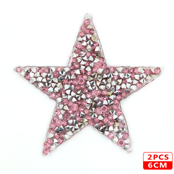 Стразы со звездами, смешанные размеры, нашивки, нашивки с вышивкой, термо-Стикеры для одежды, 5 видов цветов, блестки, нашивки для одежды, сделай сам - Цвет: 6cm Pink 2pcs