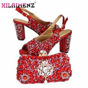 Image 4 - האחרון איטלקי נשים לקשט עם ריינסטון התאמת נעליים וסט תיק רסיס צבע באיכות גבוהה נעלי תואם ד