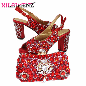 Image 4 - Latest Italian Women Decorate with Rhinestone Matching Shoes and Bag Set in Sliver Color High Quality Shoes Matching Bag For Wed