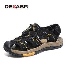 DEKABR moda oryginalne skórzane męskie sandały letnie buty lekkie komfortowe męskie sandały plażowe skórzane buty męskie Plus rozmiar 38 ~ 46