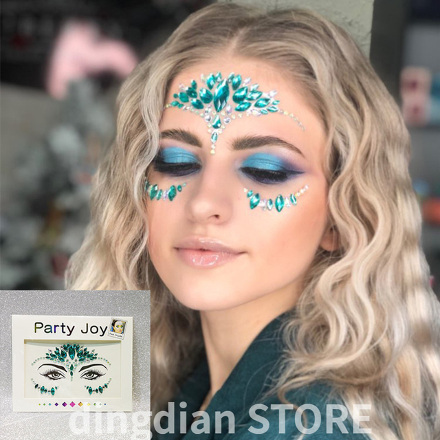 3D Face Stickers Temporary Tattoo Sexy Eye Sticker Diamond Makeup Party fake tattoo for woman Crystal Face Jewels 2020 Design