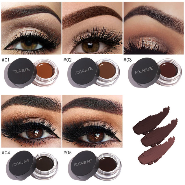 FOCALLURE Eyes Comestic Waterproof Eyebrow Gel Makeup Long Lasting Liquid Eyebrow Cream Eye Brow Makeup Set + Black Brush 1