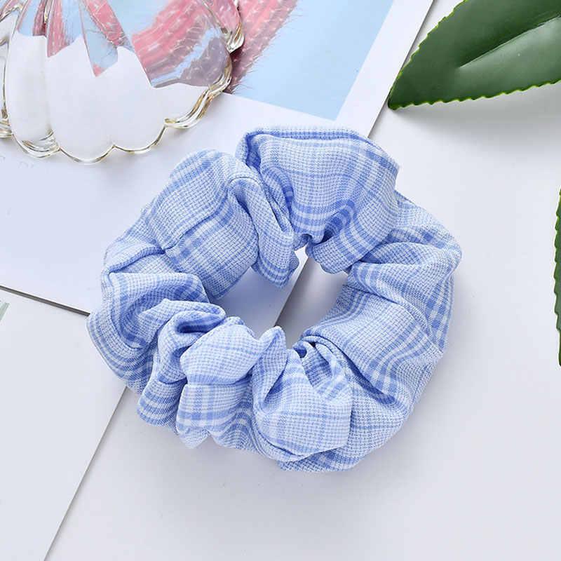 1 adet Vintage Scrunchie streç elastik saç bantları kore ekose Scrunchies kadın lastik toka kızlar saç bağları saç aksesuarları