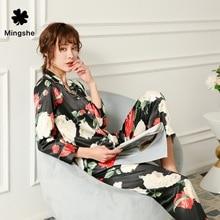 MS Summer ladies fancy flower print pajamas suit fashion silk man-made two-piece shirt + pants comfortable home service