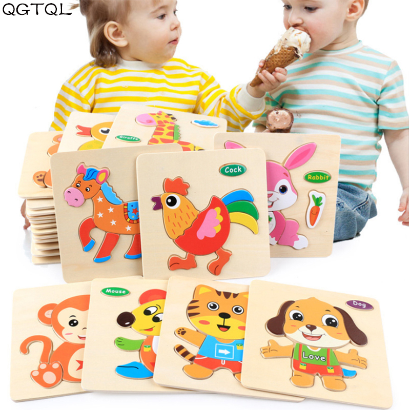 Baby Toys Wooden 3d Puzzle Cartoon Animal Intelligence Kids Educational Brain Teaser Children Tangram Shapes Learning Jigsaw(China)