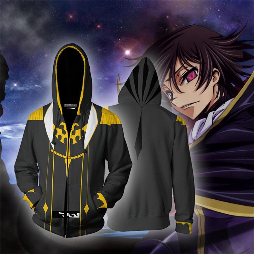 Halloween Cosplay Anime Hoodie Sweatshirts Jacket Code Geass CC Lelouch Cosplay Costume Jacket Zipper Clothing