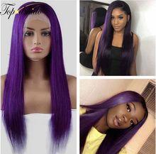 Фиолетовый цвет 13x4 Синтетические волосы на кружеве парики предварительно вырезанные бразильские волнистые человеческие волосы парик 180% П...