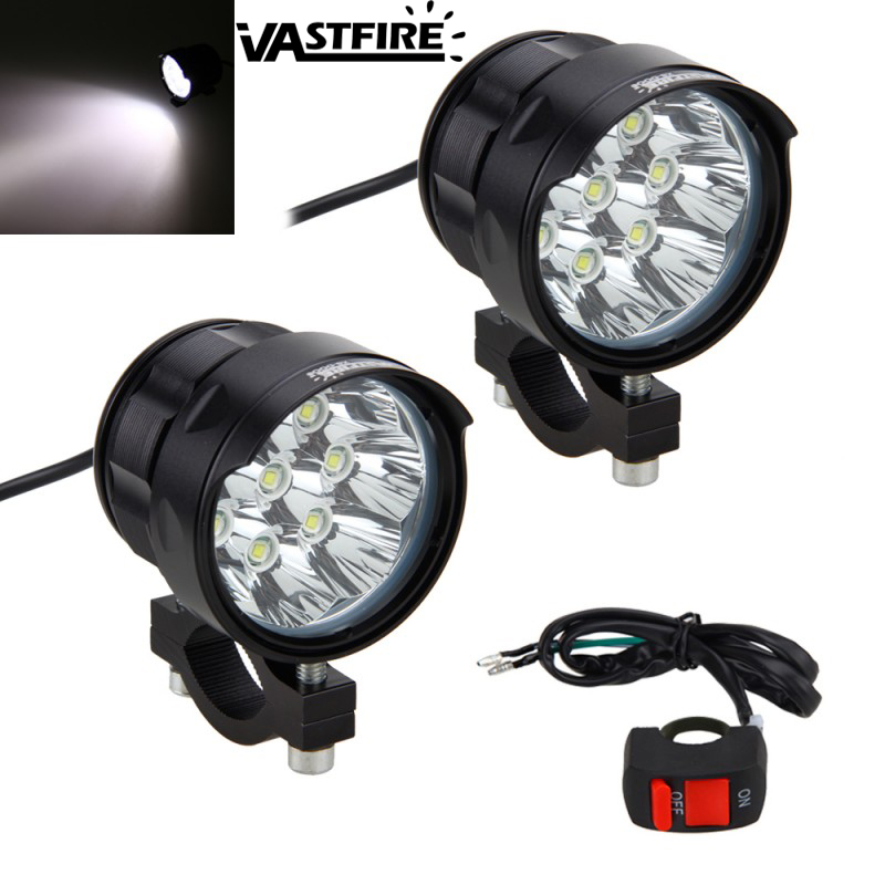 2PCS 4V-84V 80W 6000LM 6500K 8x XM-L T6 LED Motorcycle Boat Spot Driving Headlight Motorbike Fog Head Light Lamp With Switch