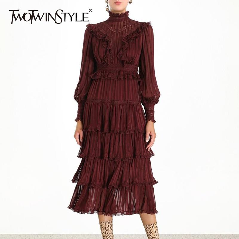 TWOTWINSTYLE богемное платье с рюшами для женщин, стоячий воротник, фонарь, длинный рукав, высокая талия, платья женские, 2019, осенняя мода, новинка