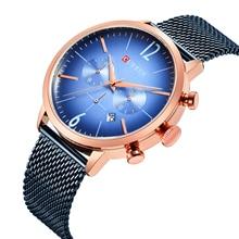 CURREN Classy Blue Stainless Steel Watch 2019 Extravagant Quartz Chronograph Rose Gold Case Military Erkek Kol Saati
