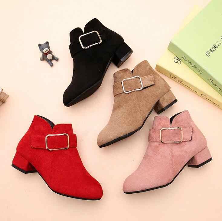 Botas para niñas 2019 nueva moda Otoño niños princesa zapatos tobillo botas para Niñas Grandes botas de nieve niños zapatos de cuero rojo rosa