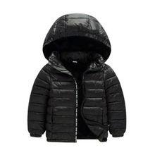 Новое легкое детское пуховое пальто с капюшоном для маленьких мальчиков и девочек, куртка, детская зимняя теплая хлопковая пуховая верхняя одежда