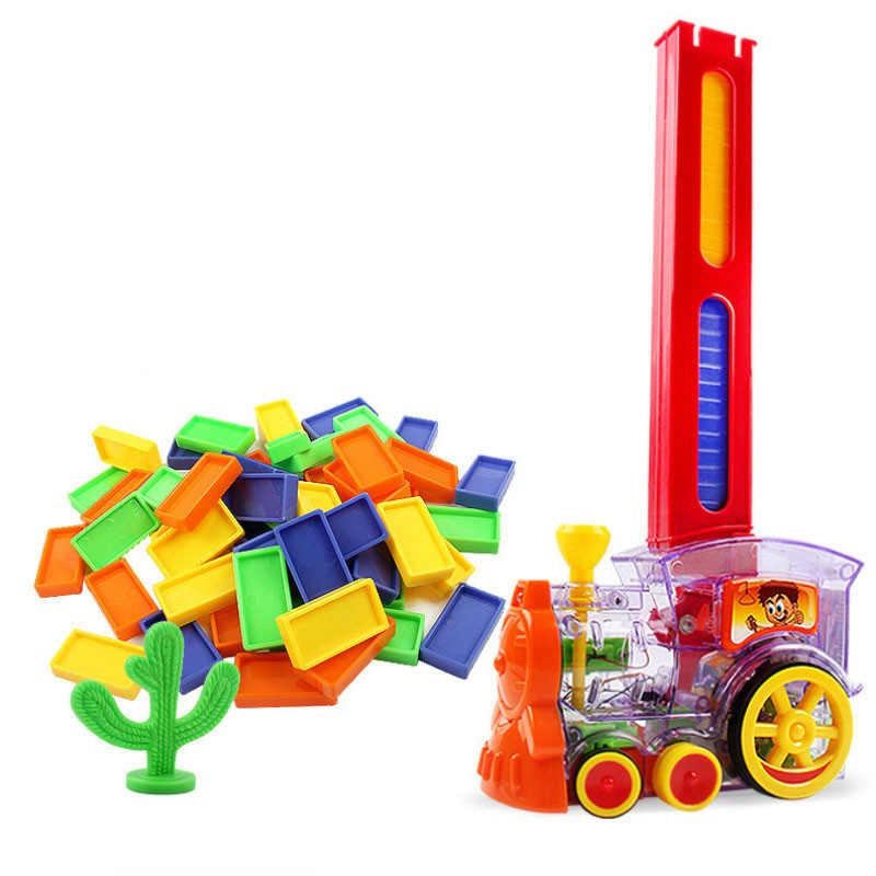 Conjunto de brinquedos de trem de dominó, modelo de trem elétrico de rali, 60 peças de blocos de construção coloridos do jogo de dominó caminhão pilha do veículo