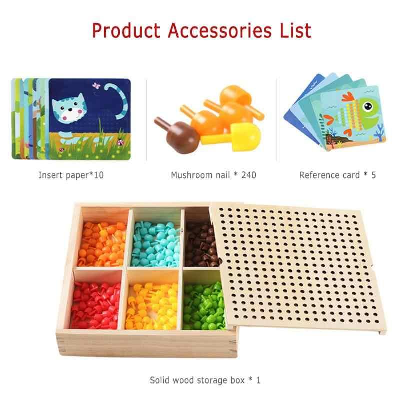 Jamur Kuku Cerdas Permainan Puzzle Kayu Kotak Penyimpanan Kuku Papan Anak DIY Mainan Puzzle Anak Usia Dini Latihan Mental