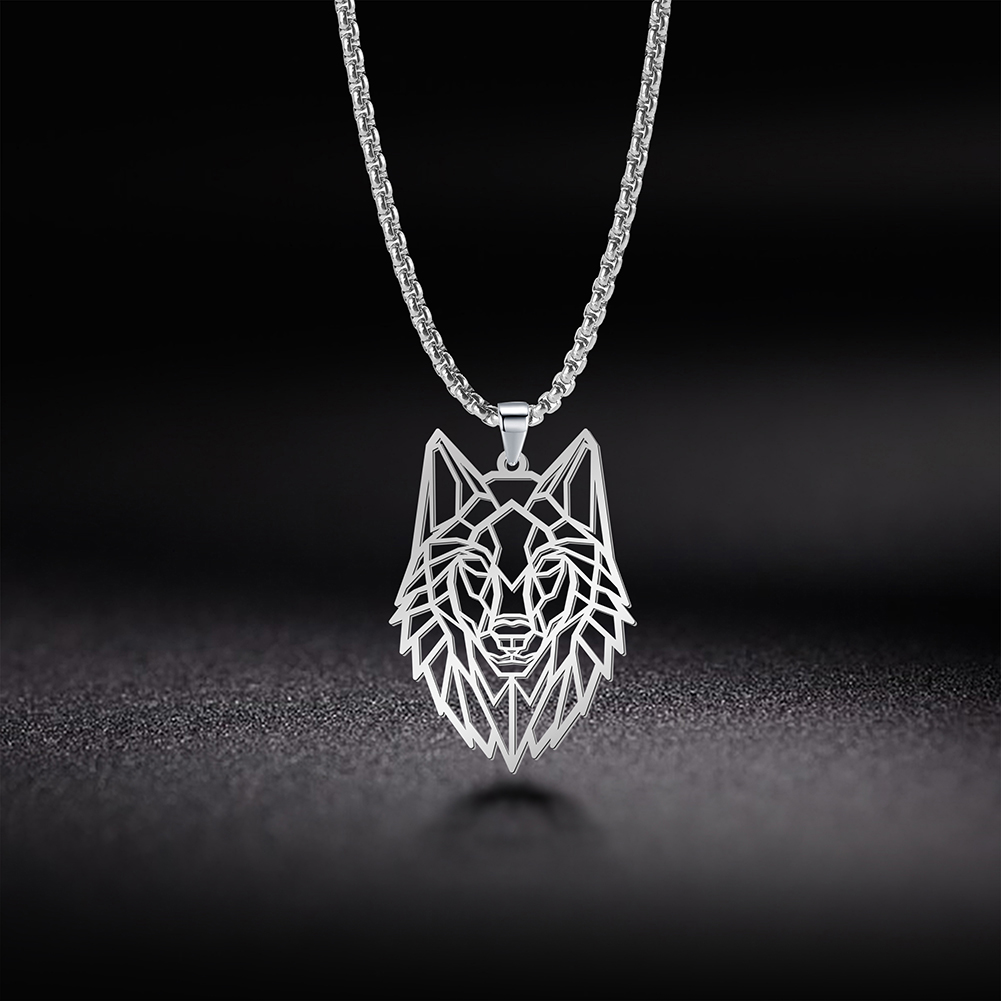 My Shape Wolf Animal Necklace 316L Stainless Steel Forest Animals Men Necklace Hollow Cut Out Pendant Jewelry Gift For Women