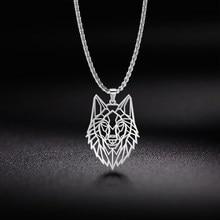 Mój kształt wilk naszyjnik ze zwierzątkiem stal nierdzewna 316L zwierzęta leśne mężczyźni naszyjnik Hollow Cut Out wisiorek biżuteria na prezent dla kobiet