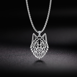 My Shape Wolf Animal Necklace 316L Stainless Steel Forest Animals Men Necklace Hollow Cut Out Pendant Jewelry Gift For Women(China)