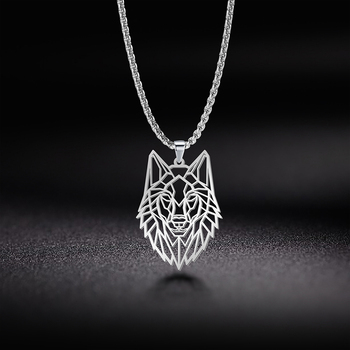 цена на My Shape Wolf Animal Necklace 316L Stainless Steel Forest Animals Men Necklace Hollow Cut Out Pendant Jewelry Gift For Women