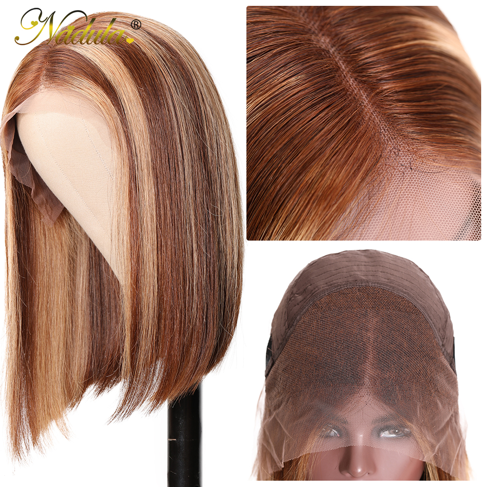 Nadula Wig 13x4 Lace Front  Wigs Short Bob Wig Straight Highlight Wig Pre Plucked Hairline Bleached Knots  Hair 5