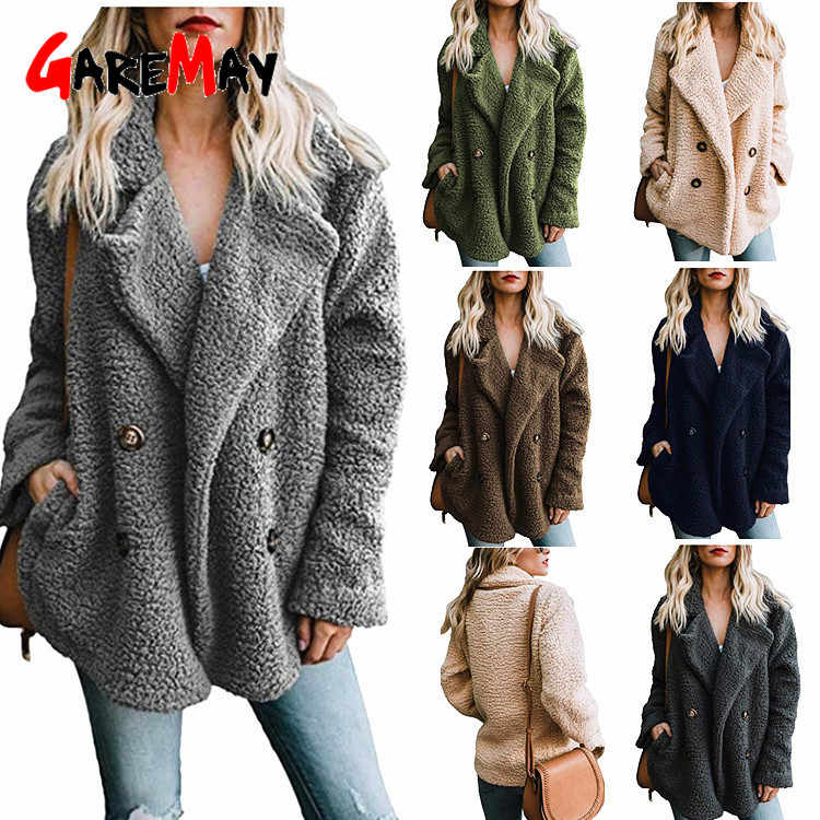 High Quality Teddy Coat Women Elegant Thick Winter Plush Coat Artificial Fluffy Fleece Dual Pocket Faux Fur Teddy Jacket Female