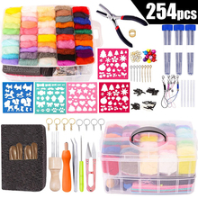 LMDZ 50 Colors Complete Needle Felting Tools Kit for DIY Craft Animal Home Decoration Holiday Gift Needle Material Bag Pack Felt