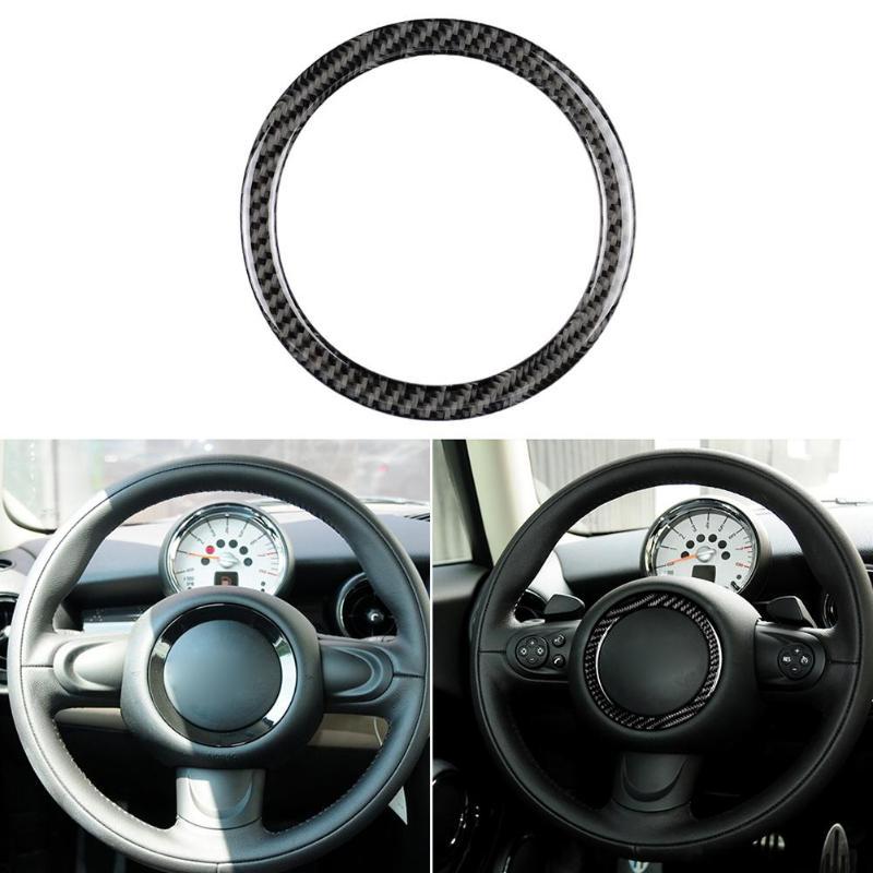 Carbon Fiber Steering Wheel Ring Sticker Cover Trim For Mini Cooper Clubman R55 R56 Countryman R60 Paceman R61 2007-2013 Auto