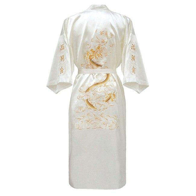 Повседневная мужская пижама с коротким рукавом, кимоно, платье, изысканная вышивка, Свадебный халат с драконом, летняя Мягкая атласная ночная рубашка, домашняя одежда, пижама