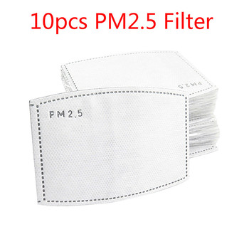 10pcs PM2.5 Filter 5 Layer Mask Replacement Filter Activated Carbon Filter for Anti-dust for Adult Mouth-muffle Antiviral Mask