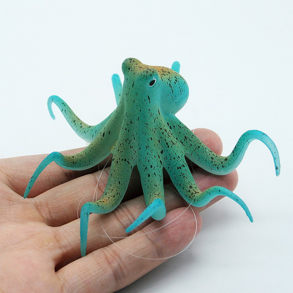 Fluorescent Artificial Octopus Aquarium Ornament With Suction Cup Fish Tank Decoration