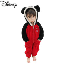 Disney Minnie and Mickey Mouse children's fall/winter boys and girls cute one-piece romper home clothes coral velvet pajamas