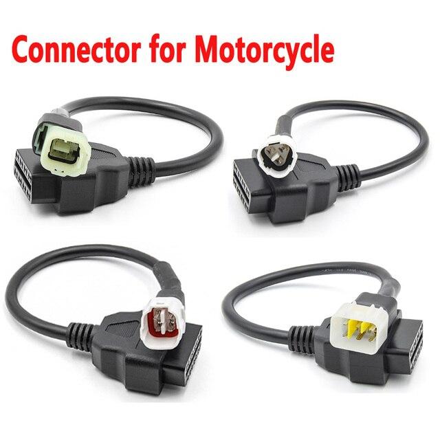 Nieuwste OBD2 Connector Voor Motorfiets Motobike Voor Yamaha 3pin 4pin Voor Honda 4Pin Voor Ktm 6pin Moto Obd OBD2 Extension kabel