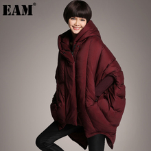Long-Batwing-Sleeve Down-Jacket Women Parkas Fashion Autumn Big-Size EAM Winter Fit-Wine