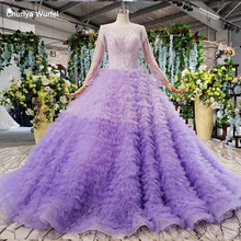 HTL833 elegant purple evening dress long o neck long sleeves evening party dress gown cake style pink robe soiree manche longue