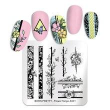 Квадратные пластины для штамповки ногтей BORN PRETTY, розы, цветы из нержавеющей стали, шаблоны для дизайна ногтей, трафареты, цветы, танго, инструменты для поделок