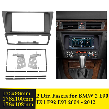 Double Din Car Radio Fascia Audio Panel Plate Frame DVD Player Dashboard Cover Bezel Fascias For BMW 3 E90 E91 E92 E93 2004-2012 image