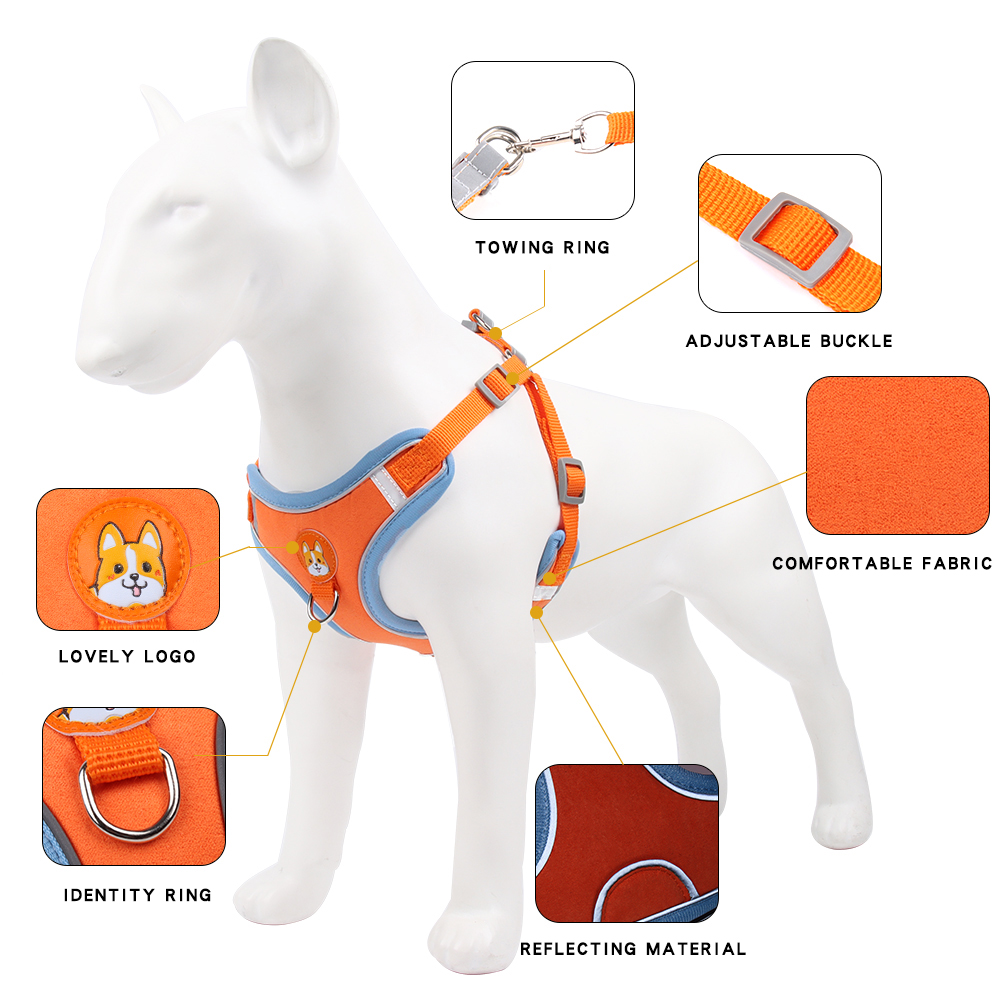 Suede Reflctive Adjustable Dog Harness And Leash Set Cat Vest Walking Lead Leash For Small Medium Chihuahu Puppy Pet Supplies 3